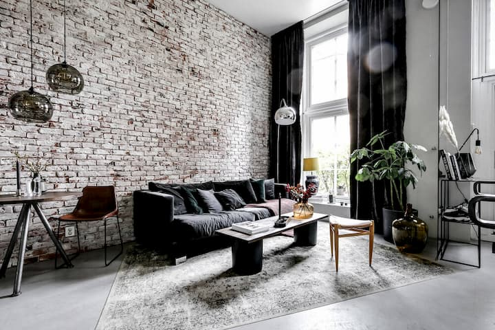 An+Industrial+Scandinavian+Apartment+Brick+Wall