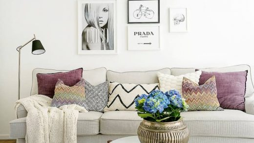 sofa bed with pillows with mix of patterns