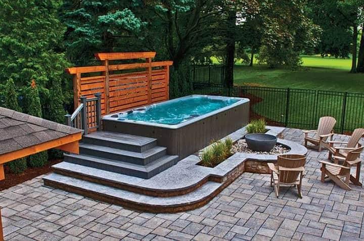 swim spa oudoor with patio