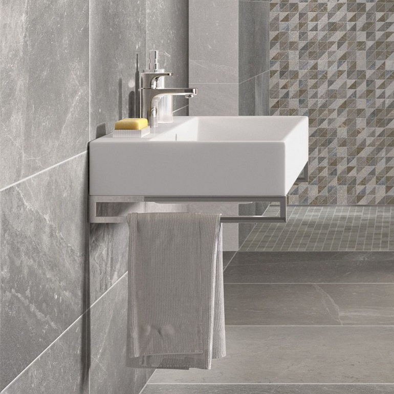 picture of a bathroom with gray tiles and a white wall hung basin