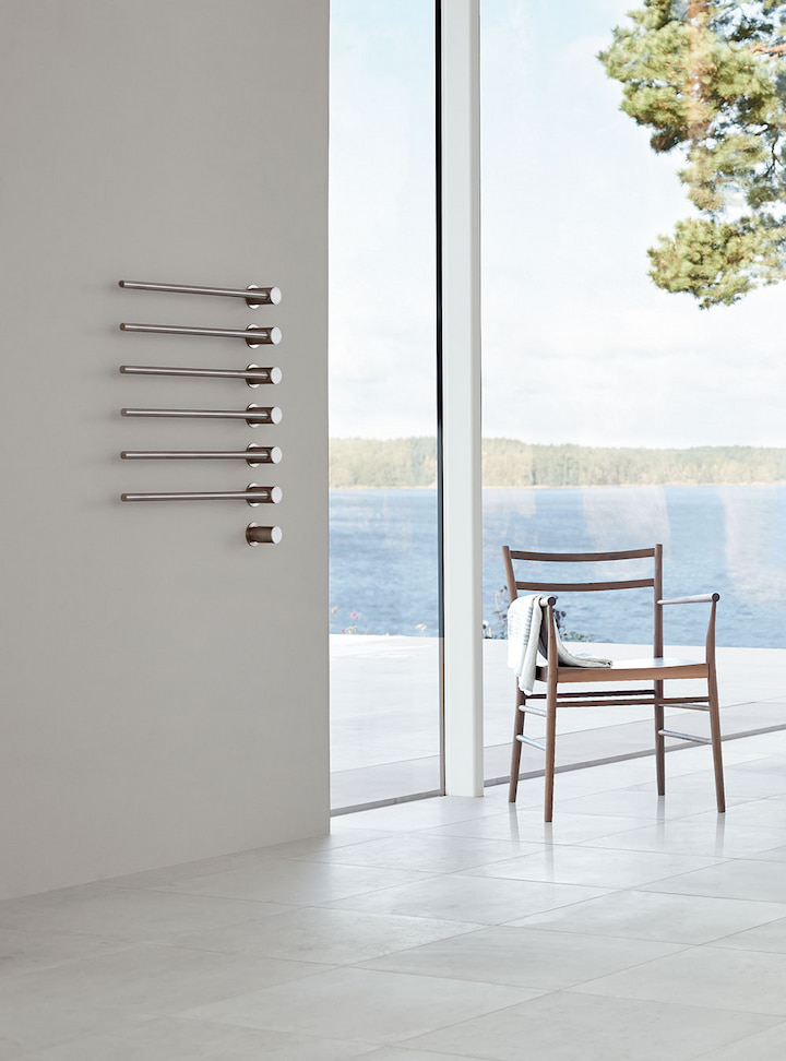 heated towel rails in the house next to the beach