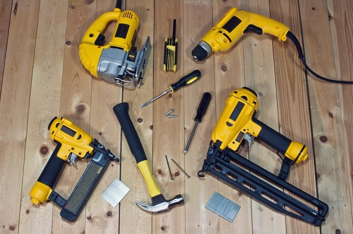 close-up of power tools